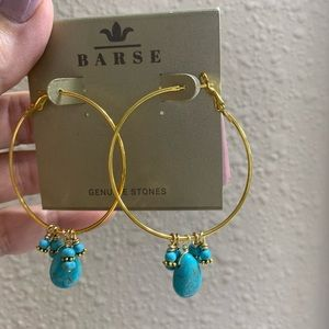 Large Barse Turquoise Hoops